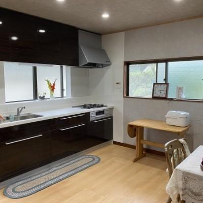 内装リフォーム工事  ダイニングキッチン改装工事  和室との仕切り壁を撤去し間取りを変えず広々空間へ