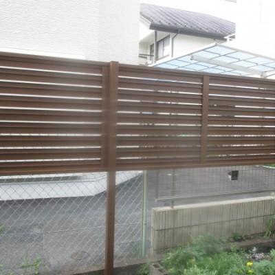 宇都宮市 フェンス取り付け工事 三協アルミ 多段支柱 2段フリータイプ