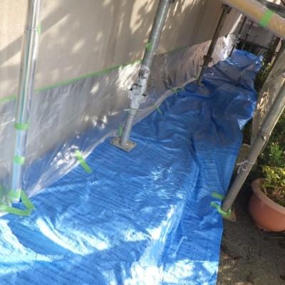 宇都宮市 外壁塗装工事 二日目 養生、外壁クラック補修