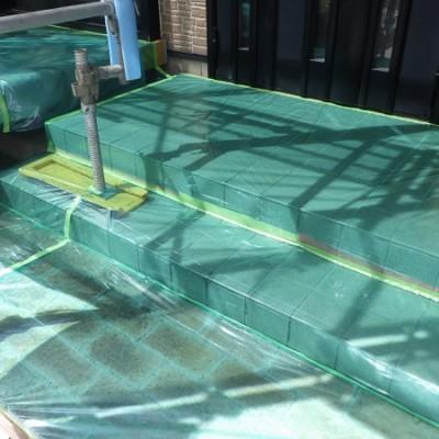 真岡市 外壁塗装工事 1日目 高圧洗浄 土間養生